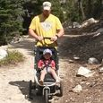 trying out the rented stroller
